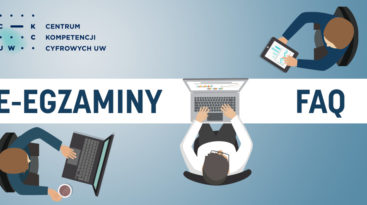 Logo Centrum Kompetencji Cyfrowych UW i tekst: E-egzaminy FAQ