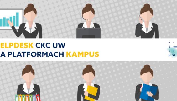 Logo CKC UW i tekst: Helpdesk CKC UW na platformach Kampus