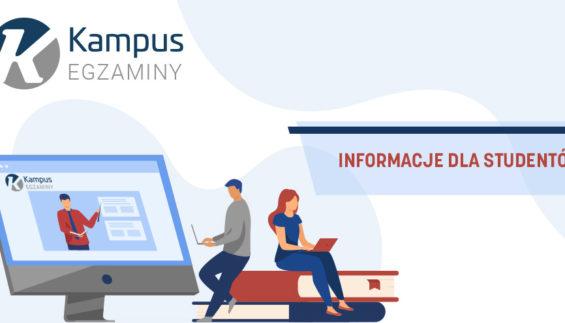 Logo Kampus-egzaminy i tekst: Informacje dla studentów