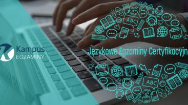 Logo platformy Kampus-egzaminy i tekst: Językowe Egzaminy Certyfikacyjne