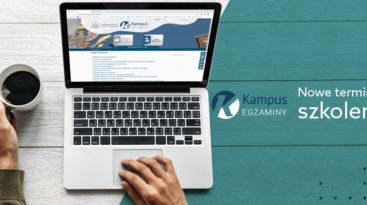 Logo platformy Kampus-egzaminy i tekst: Nowe terminy szkoleń
