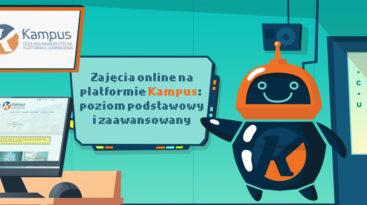 Logo ogólnouniwersyteckiej platformy e-learningowej Kampus oraz tytuł szkoleń: Zajęcia online na platformie Kampus: poziom podstawowy oraz zaawansowany