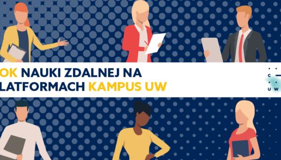 Tekst: Rok nauki zdalnej na platformach Kampus UW oraz logo CKC UW. Wokół zarysy postaci studentów i wykładowców