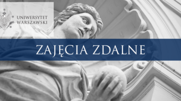 Logo Uniwersytetu Warszawskiego i podpis: Zajęcia zdalne